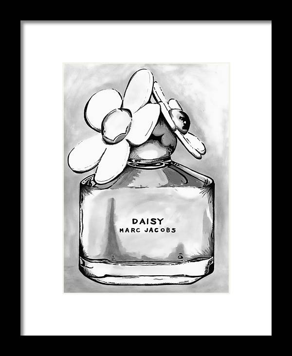 Framed Print featuring the painting Marc Jacobs Daisy B Lack And White by Andy Thomas