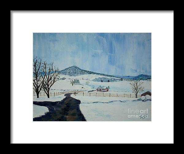 Mole Hill; Snow; Dark Driveway In Foreground Framed Print featuring the painting March Snow on Mole Hill - SOLD by Judith Espinoza