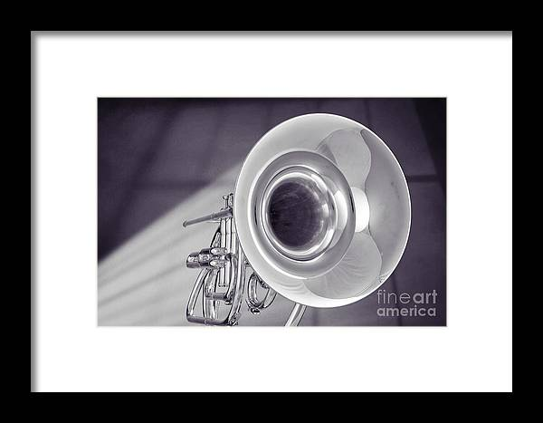 Marching French Horn Framed Print featuring the photograph Marching French Horn Antique Classic In Sepia 3425.01 by M K Miller