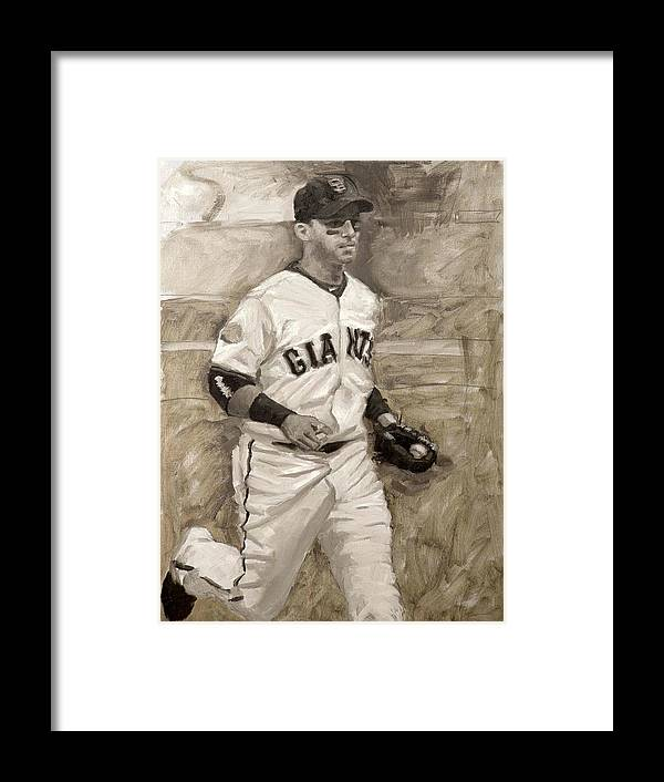 Marco Scutaro Framed Print featuring the painting Marco Scutaro by Darren Kerr