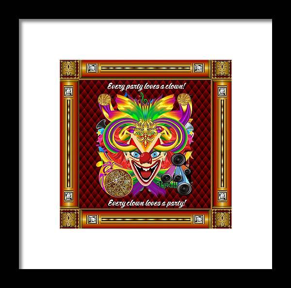Mardi Gras Framed Print featuring the digital art Mardi Gras Clown Style 1 Vector Sample by Bill Campitelle