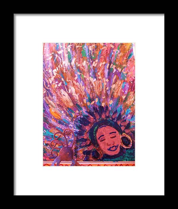 Bright Framed Print featuring the mixed media Mardi Gras Girl Revisited by Anne-Elizabeth Whiteway