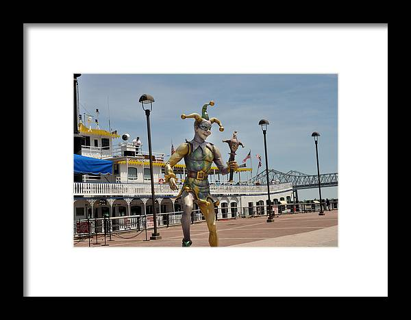 Mardi Gras Framed Print featuring the photograph Mardi Gras Jester And River Boat by Diane Lent