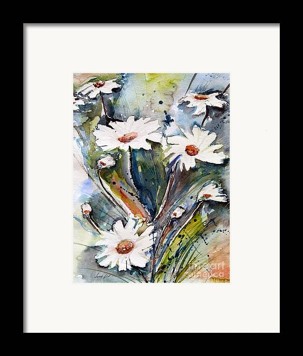 Marguerite Flowers Framed Print featuring the painting Marguerites by Ismeta Gruenwald