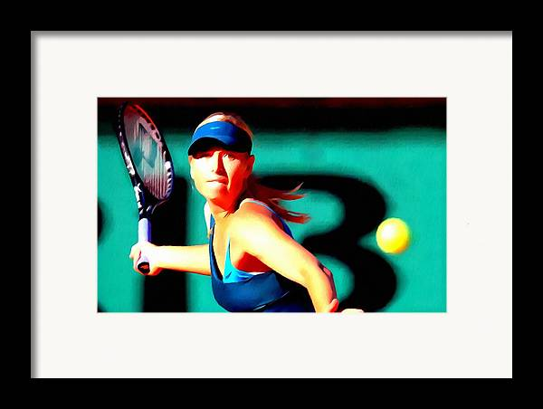 Maria Sharapova Tennis Framed Print featuring the painting Maria Sharapova Tennis by Lanjee Chee