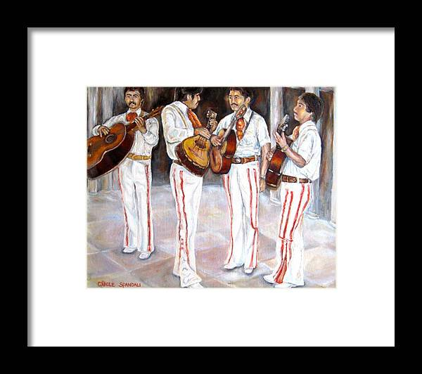 Mariachis Framed Print featuring the painting Mariachi Musicians by Carole Spandau
