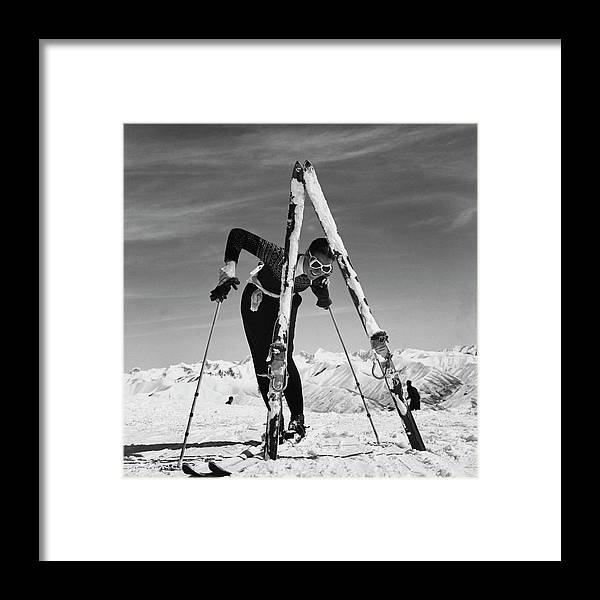 Beauty Framed Print featuring the photograph Marian Mckean With Skis by Toni Frissell