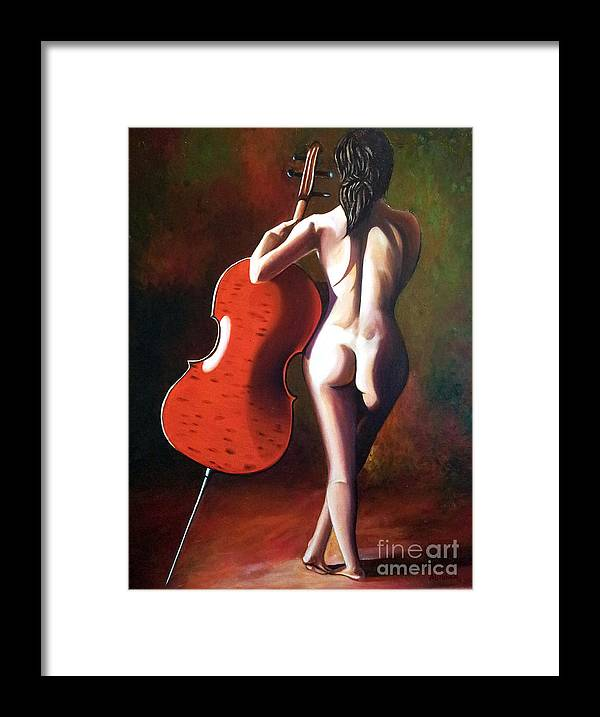 Nude Framed Print featuring the painting Marie by Jose Manuel Abraham