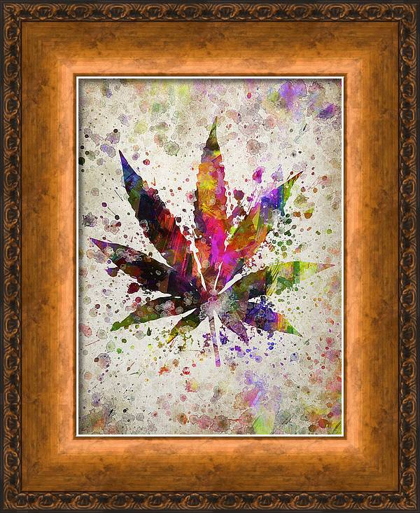 Marijuana Leaf in Color by Aged Pixel