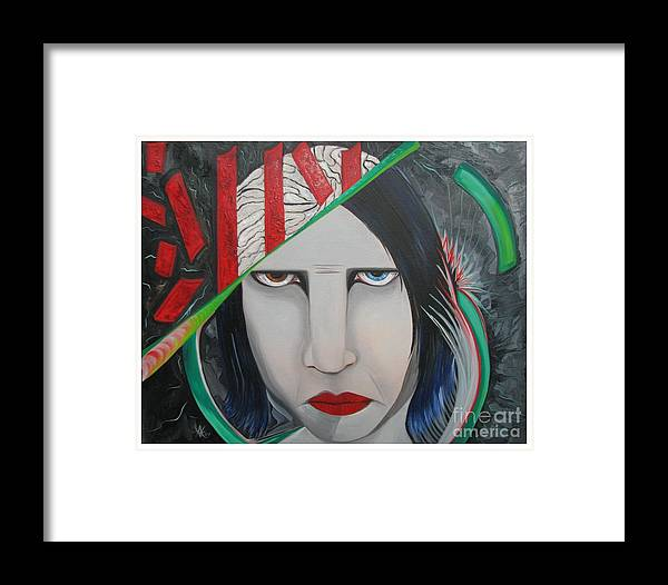 Marilyn Manson Framed Print featuring the painting Marilyn by Aimee Vance