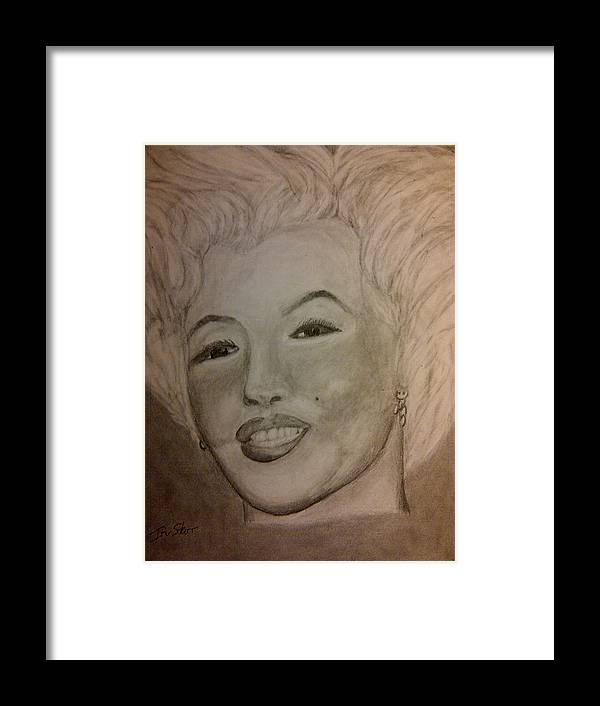 Movie Star Beatiful Women Framed Print featuring the drawing Marilyn by Irving Starr