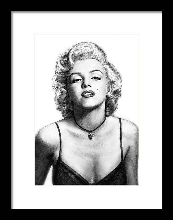 Marilyn Monroe Art Drawing Sketch Portrait Framed Print by Kim Wang