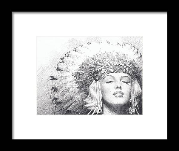 <a Href=http://miketheuer.com Target =_blank>www.miketheuer.com</a> Framed Print featuring the drawing Marilyn Monroe In Headdress Pencil Portrait by Mike Theuer
