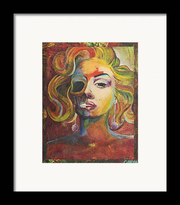 Michael Caron Framed Print featuring the painting Marilyn Monroe by Mike Caron