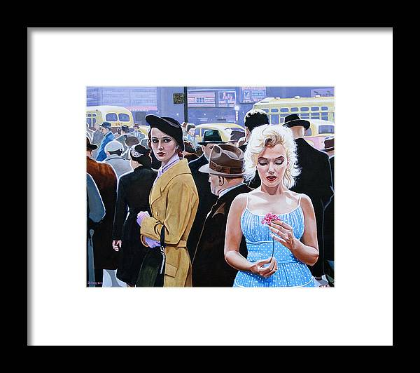 Celebrity Framed Print featuring the painting Marilyn Monroe - River Of No Return by Jo King