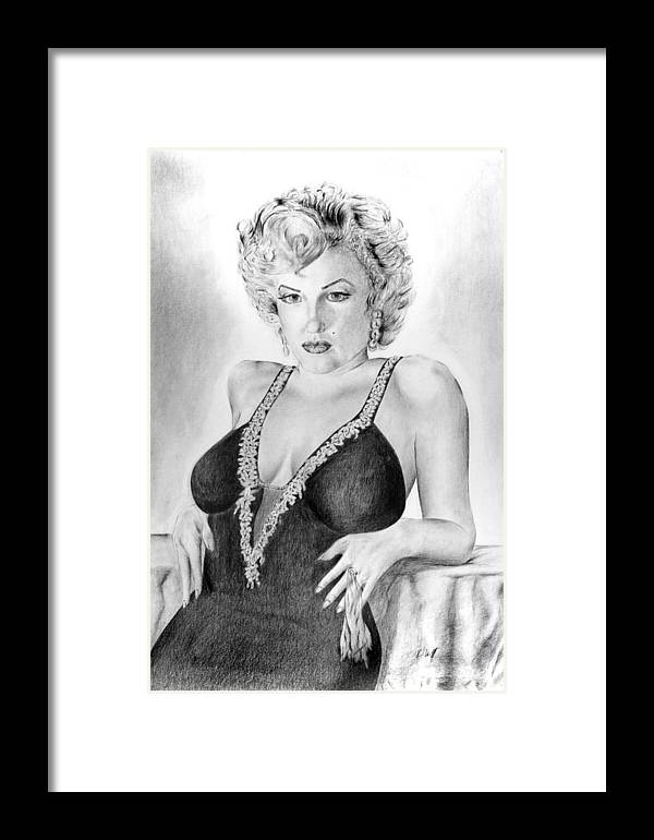 Marilyn Monroe Framed Print featuring the drawing Marilyn Monroe by Vincent Wolff