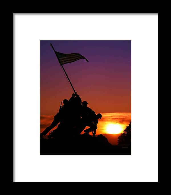 Marine Corps Memorial Framed Print featuring the photograph Marine Corps Memorial by Mitch Cat