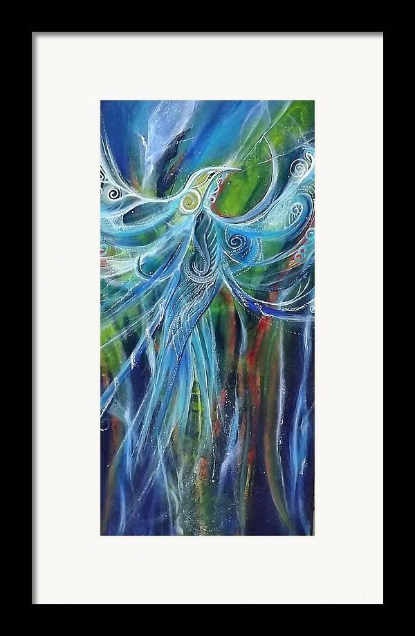 Evolution Spiritual Ethereal Surreal Blue Organic Patterns Koru Texture Birds Inner Self  New Zealand  Blue Healing Ocean Water Blue Aquagreen True Unique Framed Print featuring the painting Marine Spirit Series by Chris Keenan