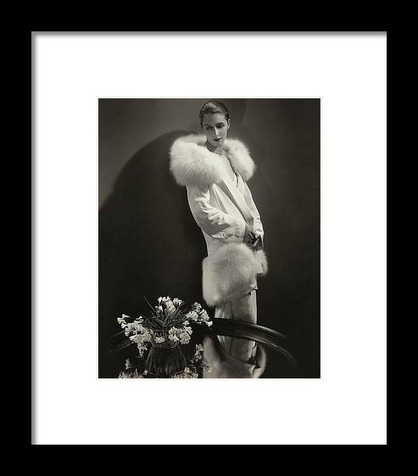 Accessories Framed Print featuring the photograph Marion Morehouse Wearing An Augustabernard Jacket by Edward Steichen