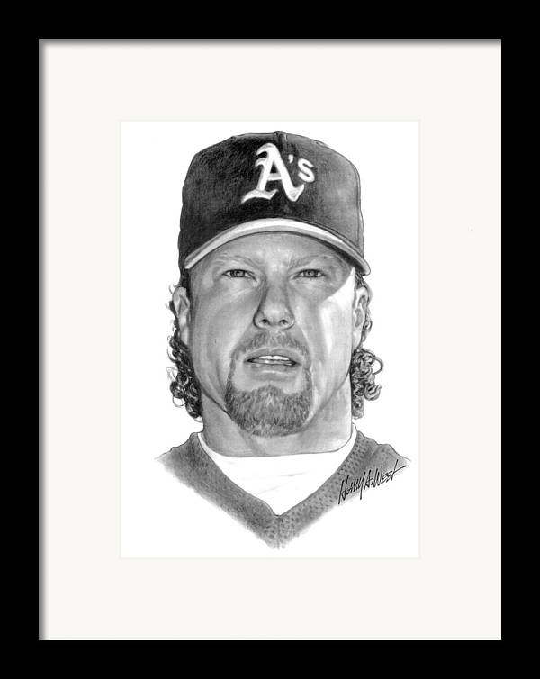 Mark Mcgwire Framed Print featuring the drawing Mark Mcgwire by Harry West