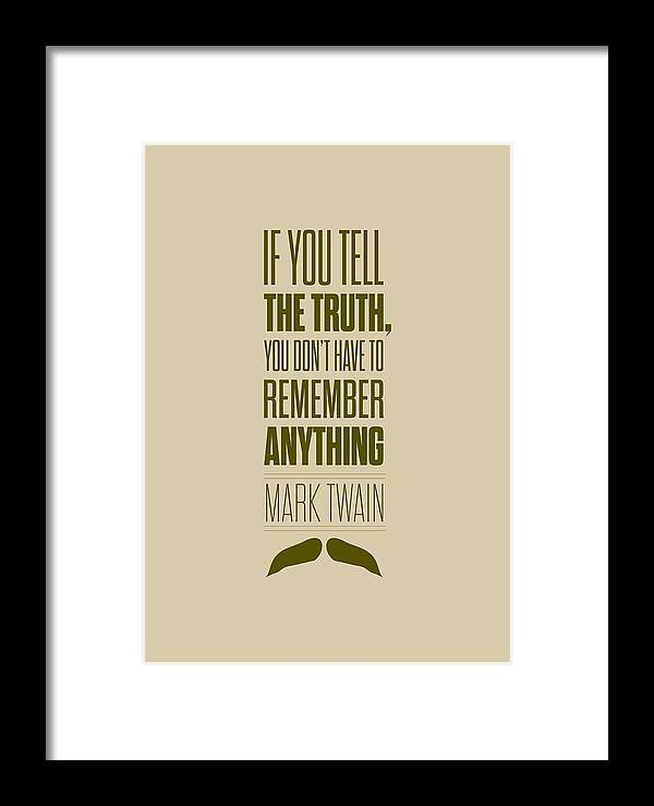 Mark Twain Quote Truth Life Modern Typographic Print Quotes Poster