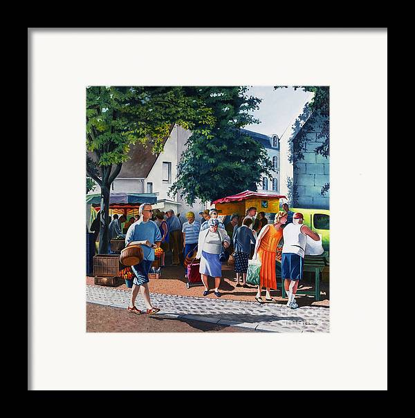 Market Framed Print featuring the painting Market Day by Christian Simonian
