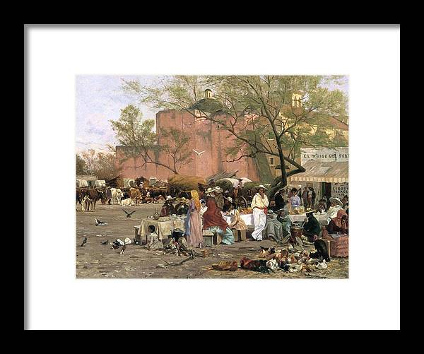 Market Place Framed Print featuring the painting Market Plaza by Thomas Allen