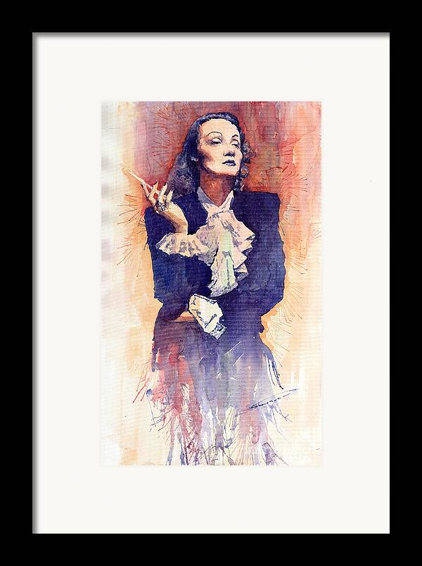 Watercolour Framed Print featuring the painting Marlen Dietrich by Yuriy Shevchuk