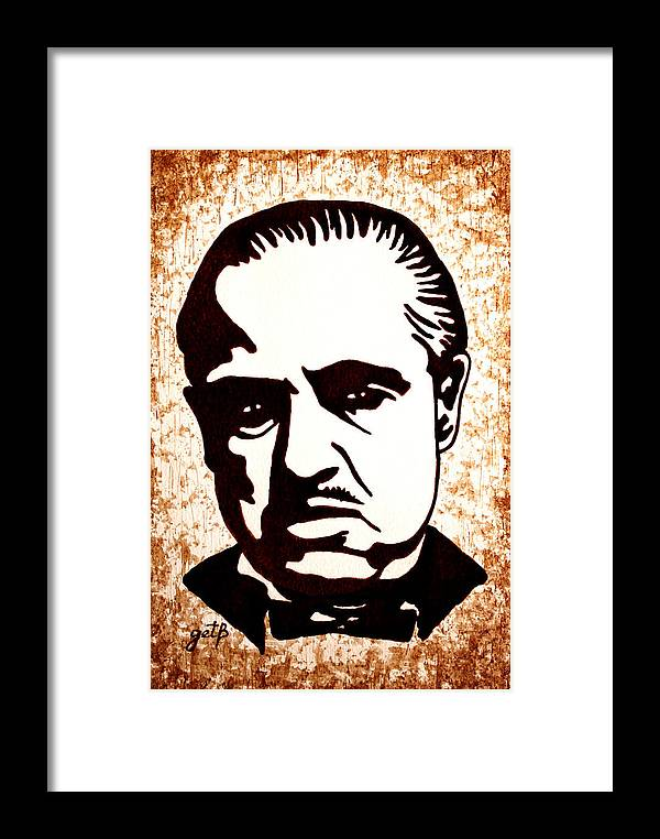 Marlon Brando In Godfather Original Coffee Painting Framed Print by ...