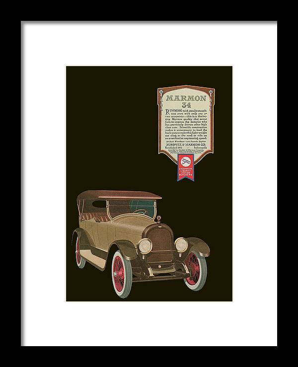 '20's Framed Print featuring the drawing Marmon 34 - Vintage Poster by World Art Prints And Designs