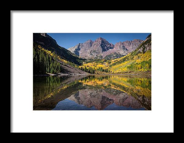 Maroon Bells Framed Print featuring the photograph Maroon Bells Fall Reflection by Mark Lane