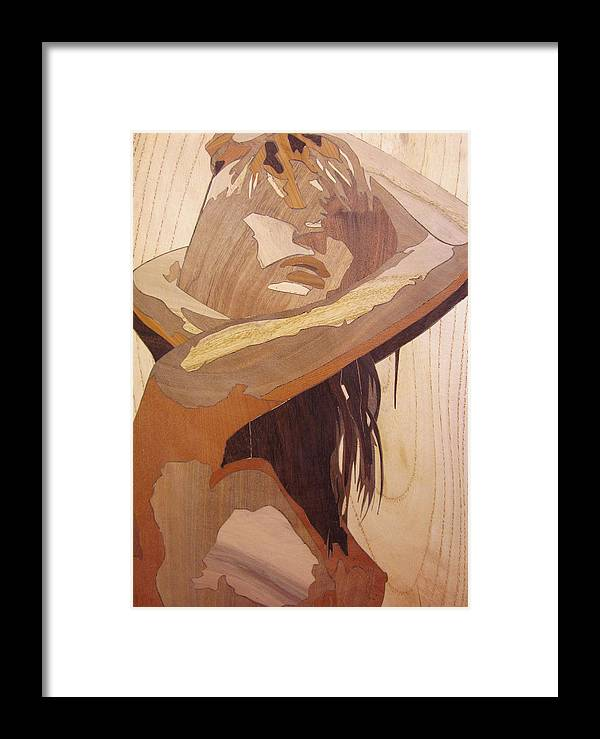 Marquetry Framed Print featuring the sculpture Marquetry Wood Work The Lady by Persian Art