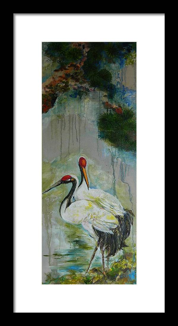 Asian Cranes Framed Print featuring the painting Marsh Morning Frame 1 by Min Wang
