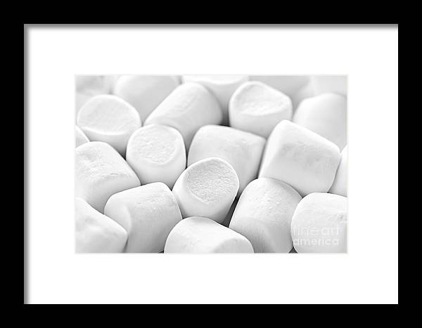 Marshmallows Framed Print featuring the photograph Marshmallows by Elena Elisseeva