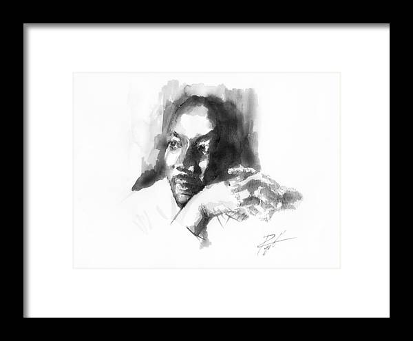 Martin Luther King Jr Framed Print featuring the drawing Martin Luther King Jr by Gerald Piggott