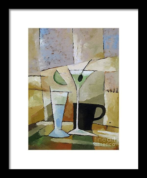Cocktail Framed Print featuring the painting Martini by Lutz Baar
