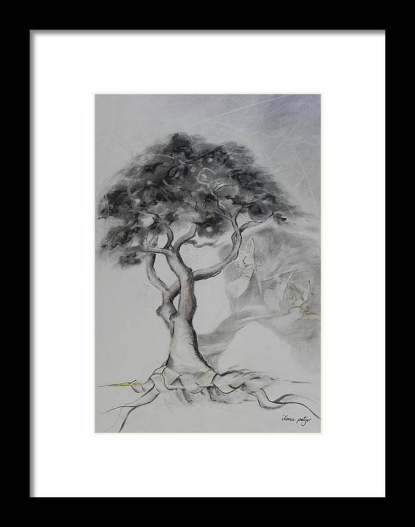 Tree Framed Print featuring the painting Marula The Provider by Ilona Petzer