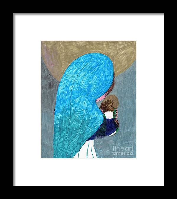 Blessed Mother Holding Jesus Framed Print featuring the mixed media Mary And Child by Elinor Helen Rakowski