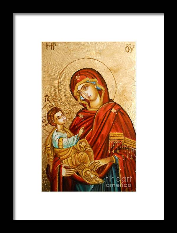Icon Framed Print featuring the painting Mary With Jessus R.1 by Sorin Apostolescu