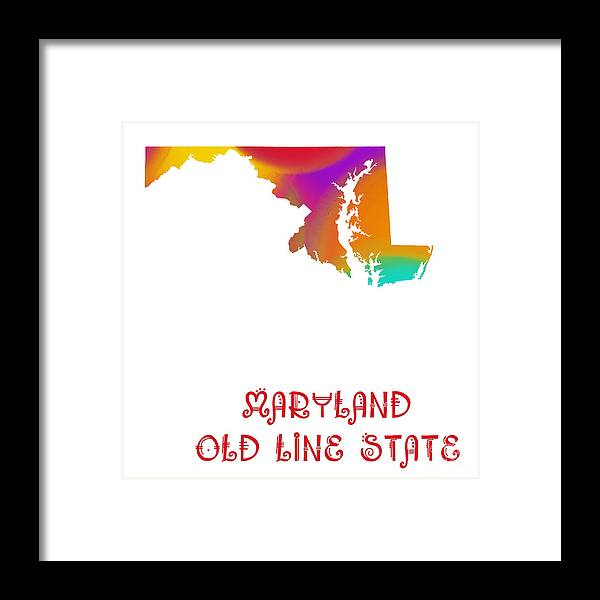Andee Design Framed Print featuring the digital art Maryland State Map Collection 2 by Andee Design
