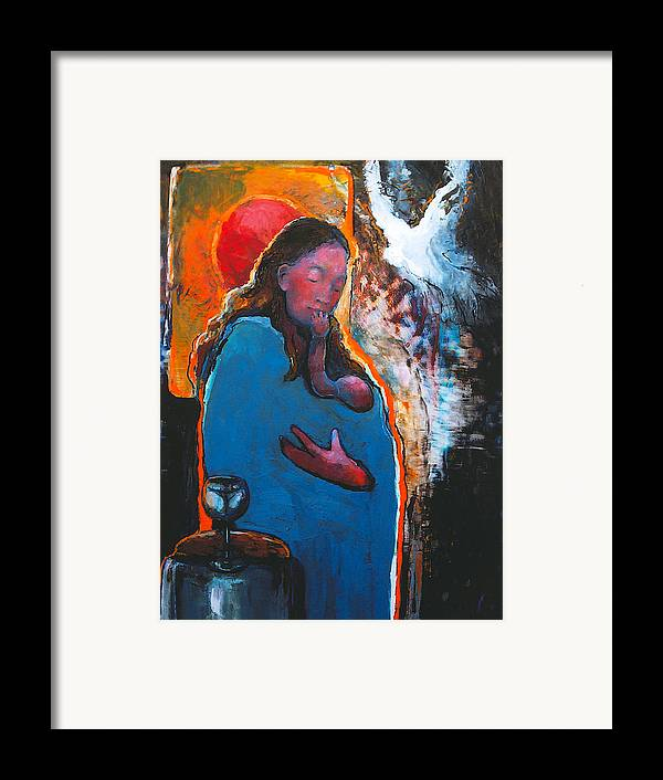 Madonna Framed Print featuring the painting Mary's Pondering by Daniel Bonnell