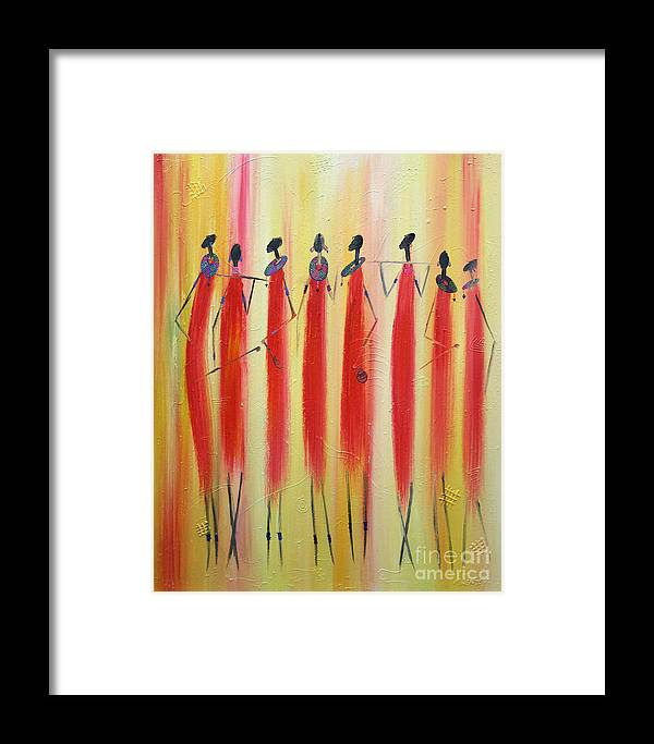 Painting Framed Print featuring the painting Masai Warriors by Abu Artist