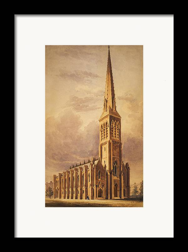 Church Framed Print featuring the painting Masonry Church Circa 1850 by Aged Pixel