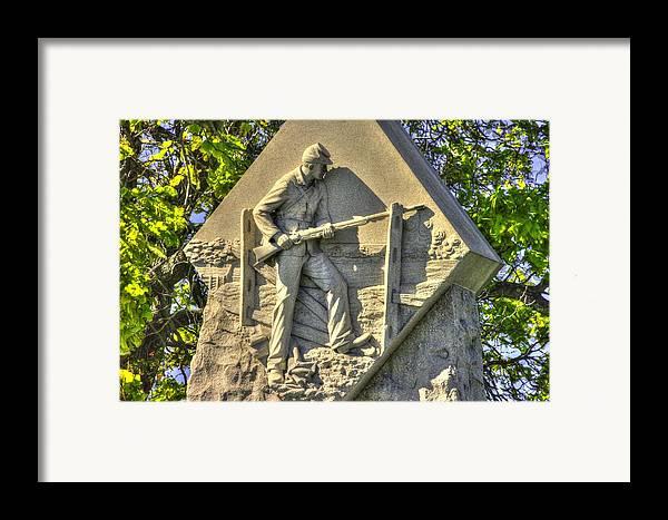 Civil War Framed Print featuring the photograph Massachusetts At Gettysburg 1st Mass. Volunteer Infantry Skirmishers Close 1 Steinwehr Ave Autumn by Michael Mazaika