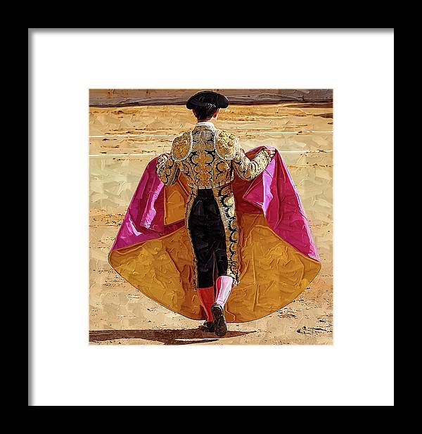 Matador Framed Print featuring the photograph Matador Ready To Work by Clarence Alford