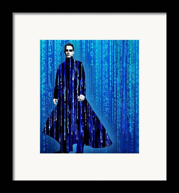 Matrix Framed Print featuring the painting Matrix Neo Keanu Reeves by Tony Rubino