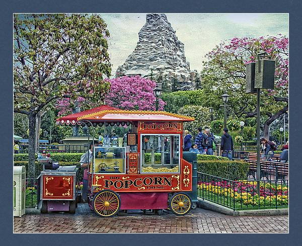Matterhorn Mountain With Hot Popcorn At Disneyland Textured Sky by Thomas Woolworth
