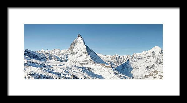 Scenics Framed Print featuring the photograph Matterhorn Panorama by Georgeclerk