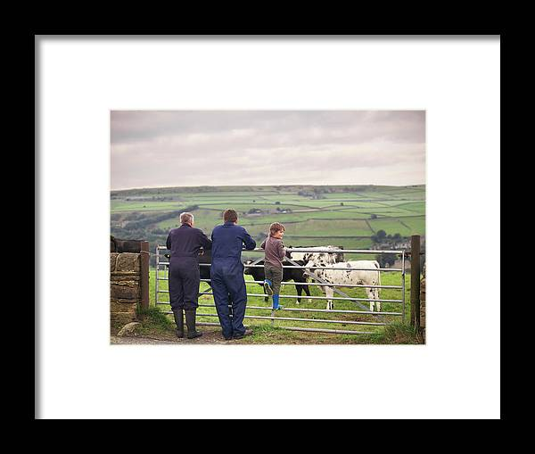 Mature Adult Framed Print featuring the photograph Mature Farmer, Adult Son And Grandson by Monty Rakusen
