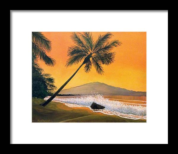 Rick Huotari Framed Print featuring the painting Maui Sunset by Rick Huotari
